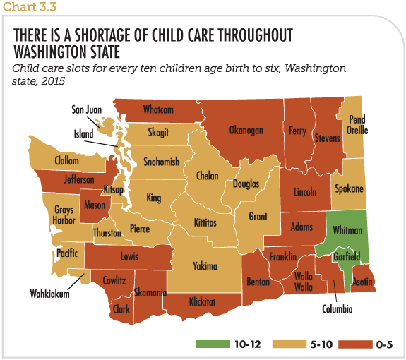 There is a shortage of child care throughout Washington State