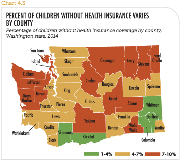 Percent of children without health insurance varies by county